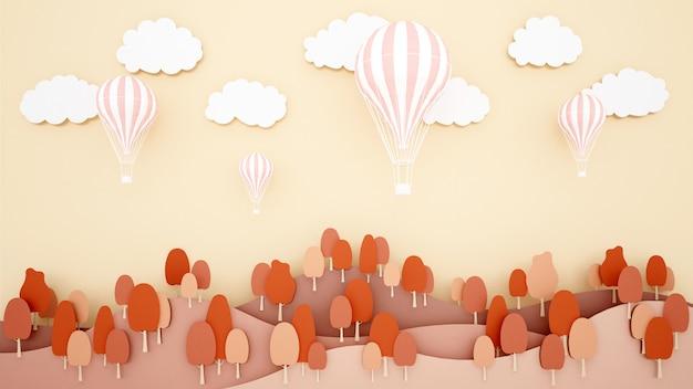 山と空の背景にピンクの風船。気球国際祭りのためのアートワーク。 Premium写真