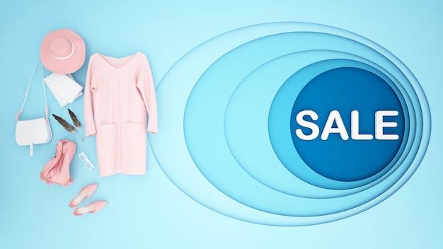 ピンクのアクセサリーと青い背景 Premium写真