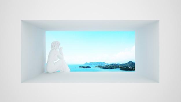 Женская скульптура сидя на окне с видом на море и яркое небо Premium Фотографии
