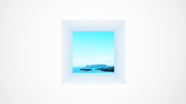 Белая стена с окном вид на море и яркое небо Premium Фотографии