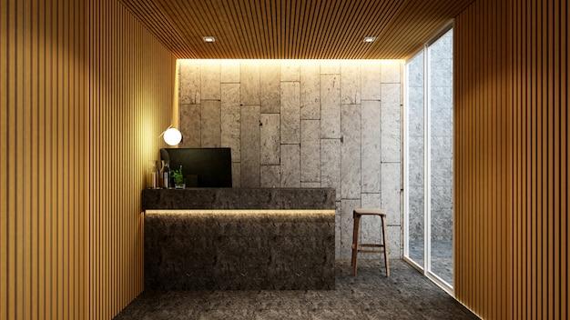 ホテルまたはオフィスのアートワークのためのロビーでのレセプション Premium写真