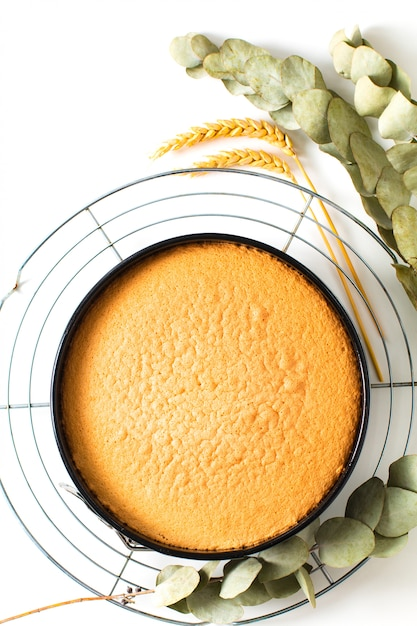 ケーキの焼き食品コンセプト新鮮な焼きたての自家製スポンジケーキ Premium写真