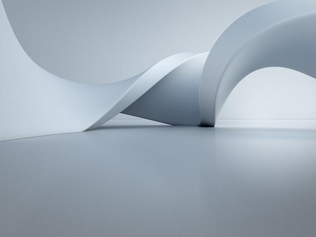 空のコンクリートの床の上の幾何学的図形。 Premium写真