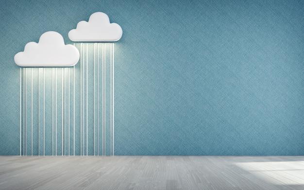 白い雲と雨のアイコンが子供部屋の空の木の床。 Premium写真