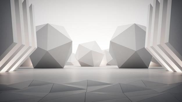 灰色のコンクリートの床の上の幾何学的図形。 Premium写真