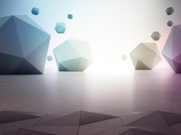 灰色のコンクリートの床に虹の幾何学的図形。 Premium写真