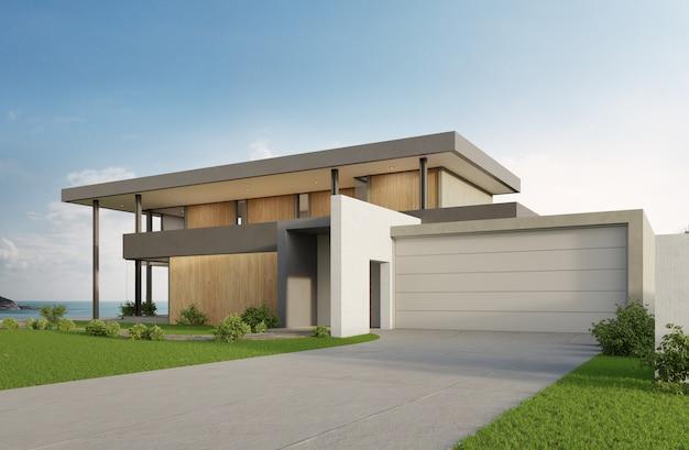 海の見えるスイミングプールとモダンなデザインの大きなガレージと豪華なビーチハウス。 Premium写真