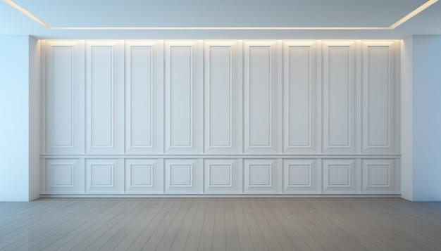 Опорожните белую стену и деревянную комнату настила, винтажный дизайн интерьера. Premium Фотографии