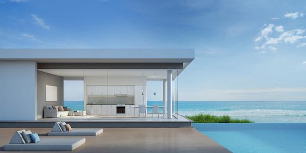 モダンなデザインの海ビュープール付きの高級ビーチハウス。 Premium写真