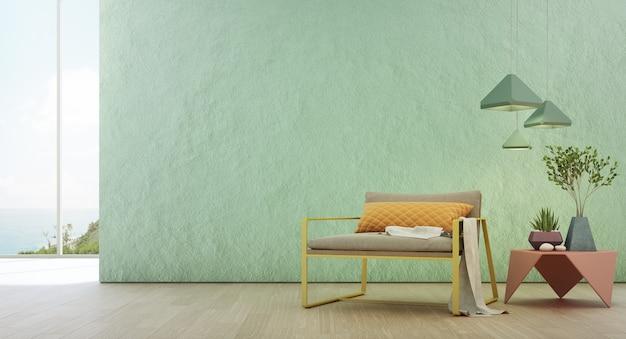 Гостиная с видом на море роскошного летнего пляжного домика со стеклянным окном и деревянным полом. Premium Фотографии