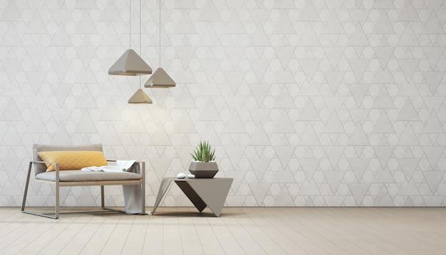 鉄製のコーヒーテーブル上の屋内プラントと空の白い三角形の壁のあるアームチェア。 Premium写真