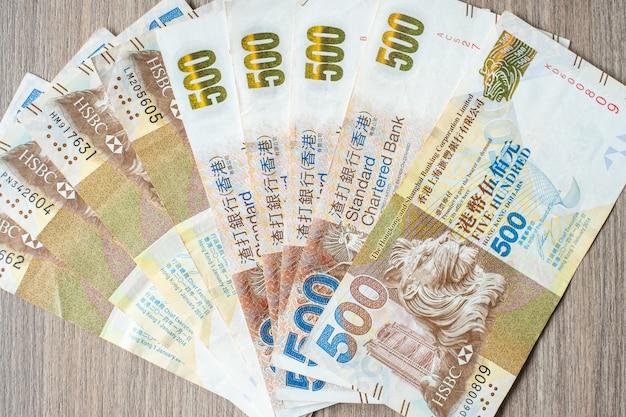 香港通貨紙幣、事業の背景のための香港ドル Premium写真