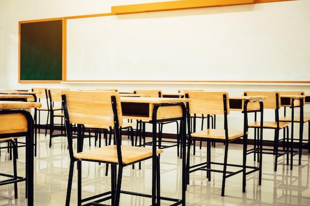 Обратно в школу концепции. школьный пустой класс, лекционная комната со столами и стульями из железного дерева Premium Фотографии