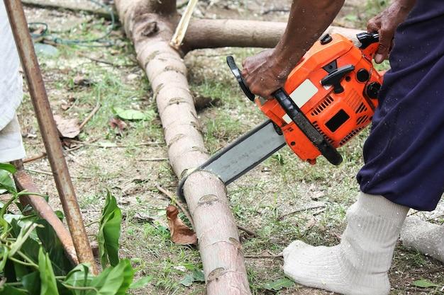 森の中で働く木こり Premium写真