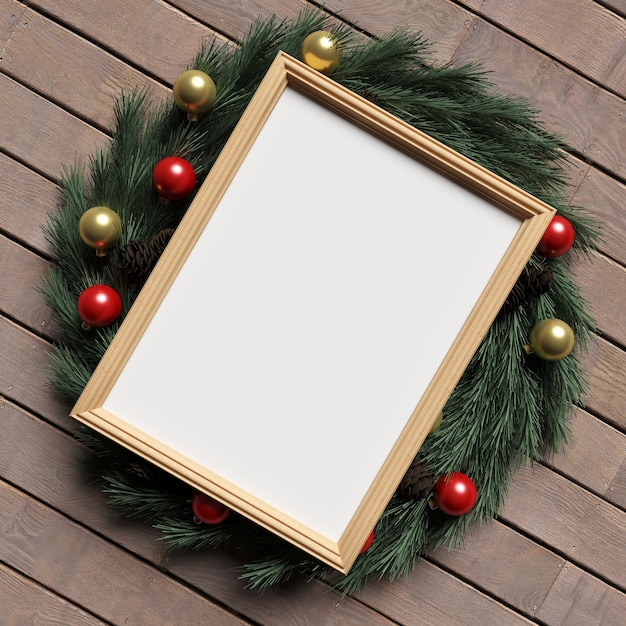 木製の床のフレームモックアップクリスマス装飾 Premium写真