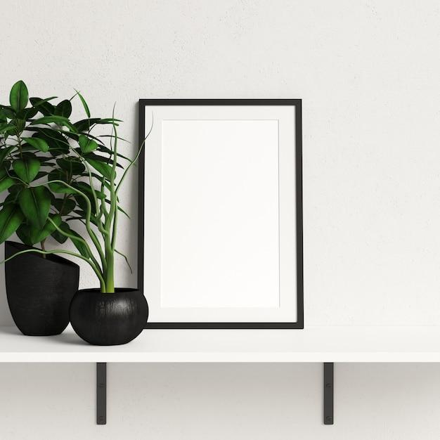 ミニマリストプラント装飾と白い棚のフレームモックアップ Premium写真