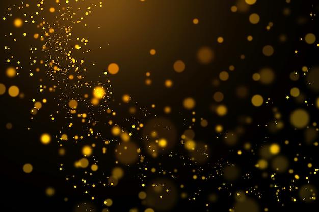 Золотой свет боке и абстрактные блестящие на темном фоне. Premium Фотографии