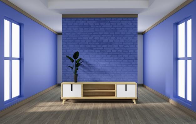 キャビネットのデザイン、白い木の床に紫色のレンガの壁とモダンなリビングルーム。 Premium写真