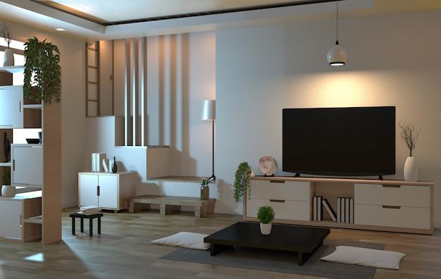 Интерьер гостиной в стиле дзен с умным телевизором и декором в японском стиле Premium Фотографии