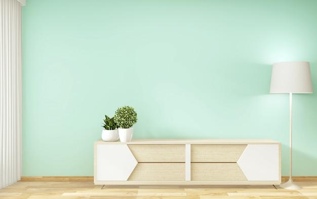 Телевизионная полка в мятной комнате в современном тропическом стиле - интерьер пустой комнаты - Premium Фотографии