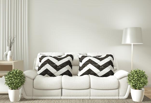 Интерьерная постерная рамка макет гостиной с белым диваном Premium Фотографии