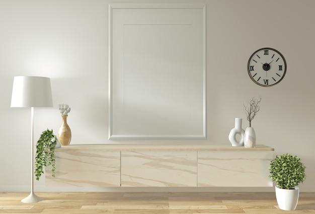 部屋のミニマルなデザインと装飾の和風でテレビのキャビネットとディスプレイをモックアップ Premium写真