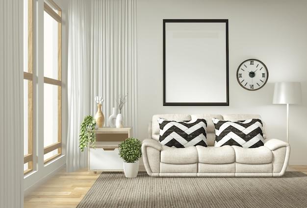 Интерьерная постерная рамка макета гостиной с белым диваном Premium Фотографии