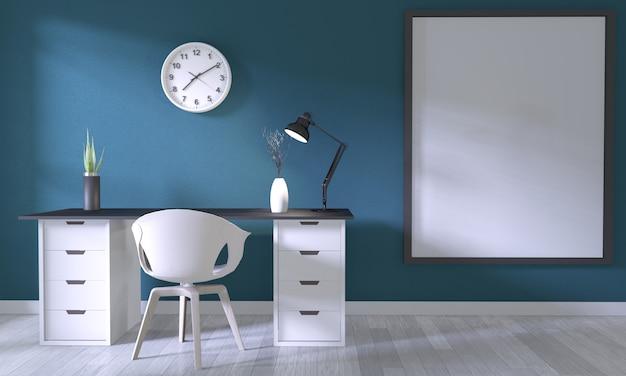 Макет плаката офиса с белым удобным дизайном и отделкой на темно-синей комнате и белым деревянным полом Premium Фотографии