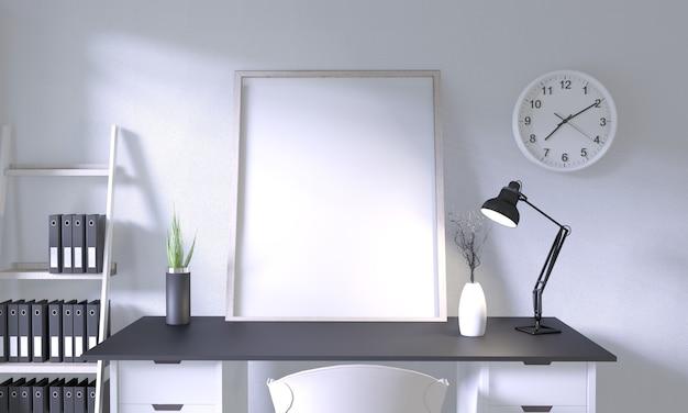 Макет верхний стол офис с отделкой в комнате макет дизайна Premium Фотографии