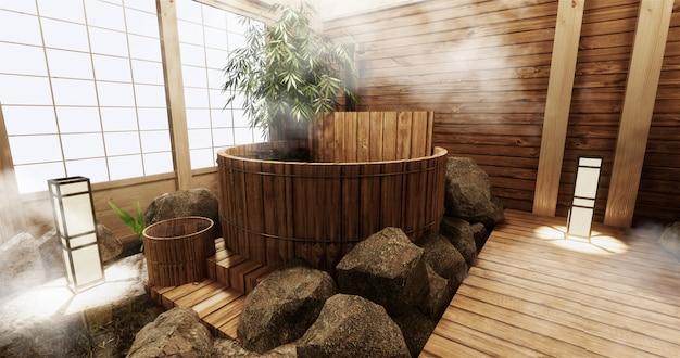 木製風呂と木製和風装飾の温泉ルームインテリア Premium写真