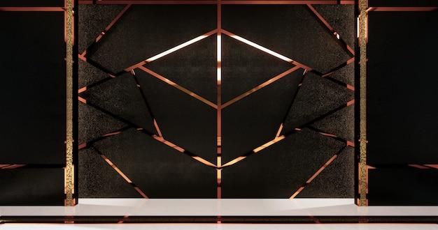 Алюминиевая отделка золотом на черном дизайне стен и деревянном полу Premium Фотографии