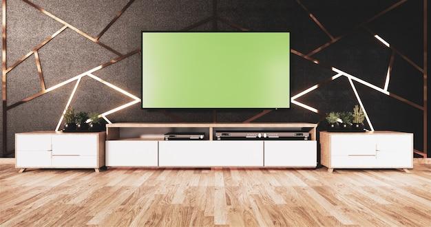 黒い壁のデザインと木製の床に木製のキャビネットとモックアップテレビのアルミニウムトリムゴールド Premium写真
