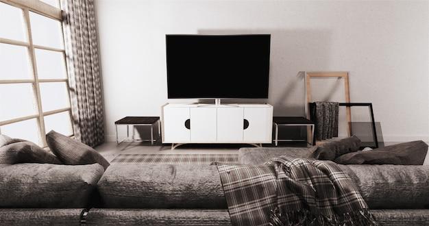 白い壁の背景にモダンなリビングルームのキャビネットのテレビ Premium写真