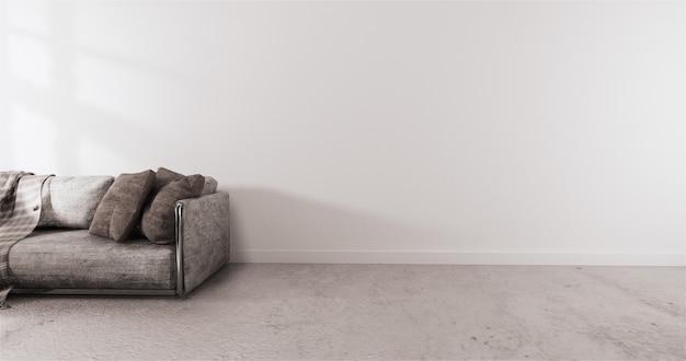 Современный стиль с белой стеной на деревянном полу и диваном на ковре Premium Фотографии