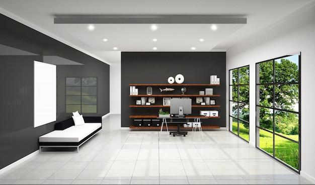 Рабочий зал с отделкой рабочей комнаты, дизайн белой плитки и черный фон стены. Premium Фотографии