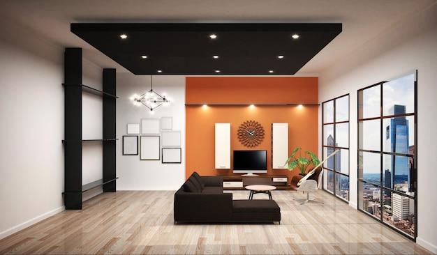 Рабочий зал с отделочной рабочей комнатой, белой плиткой и оранжевым фоном. Premium Фотографии