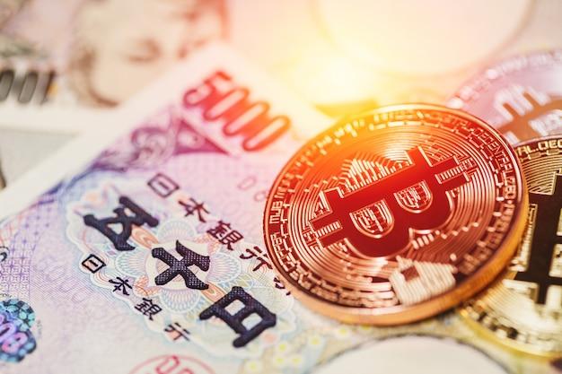 日本円で暗号通貨を使用したビットコイン支払い。 Premium写真