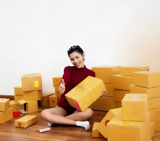 在宅勤務の美しさの女性 Premium写真