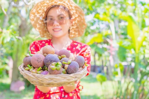 アジアの女性農業経営者がバスケットにマンゴスティーンを表示 Premium写真