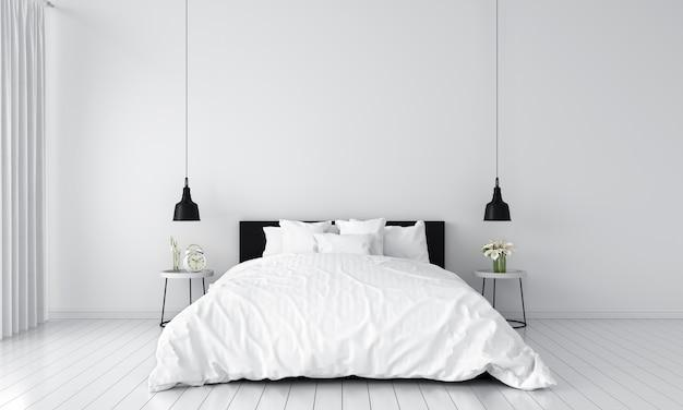 モックアップのための白い寝室のインテリア Premium写真