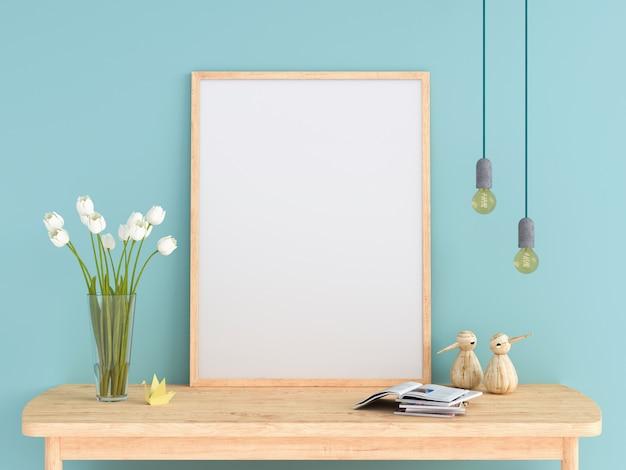 テーブル上のモックアップのための空のフォトフレーム Premium写真