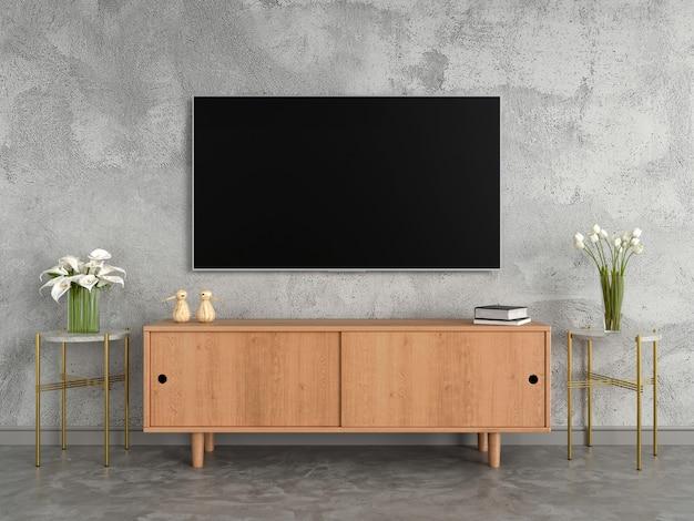 リビングルームのワイドスクリーンテレビとサイドボード Premium写真