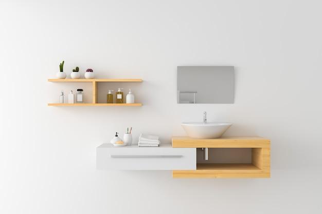 木製の棚と壁に鏡の上の白い洗面器 Premium写真