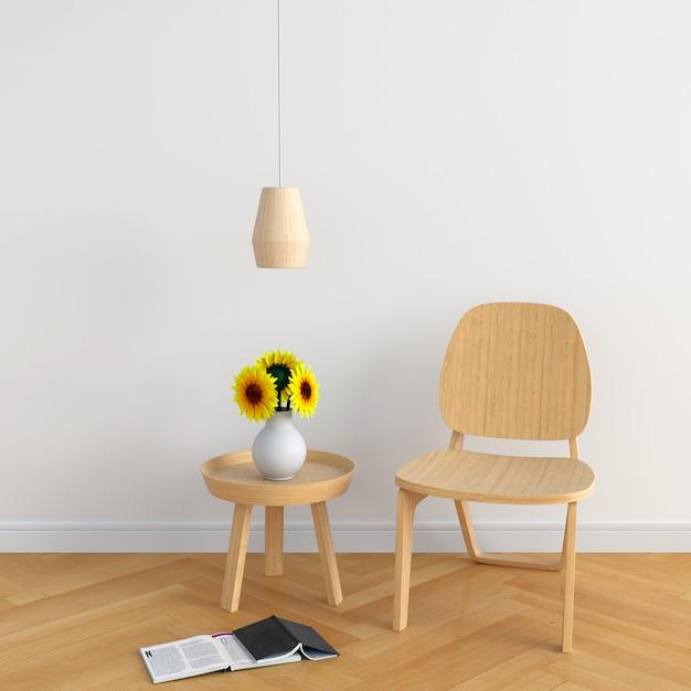 白い部屋の木の椅子 Premium写真