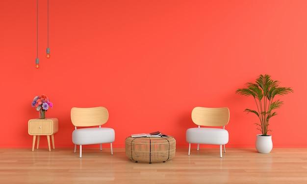 Белый стул в гостиной для макета Premium Фотографии
