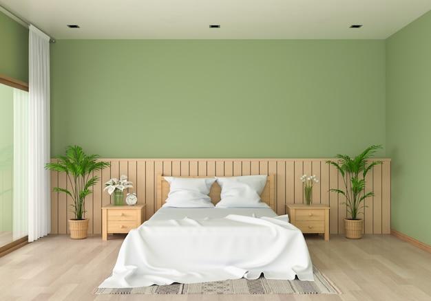 モックアップのための緑の寝室のインテリア Premium写真