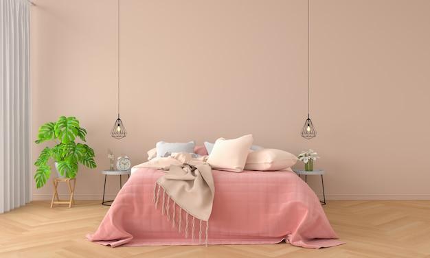 モックアップのための寝室のインテリア Premium写真
