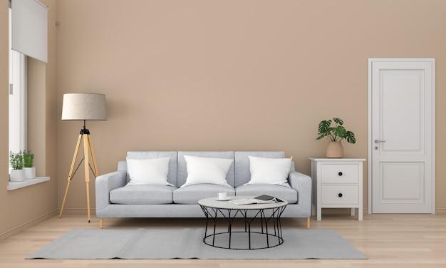 グレーのソファーとリビングルームのテーブル Premium写真