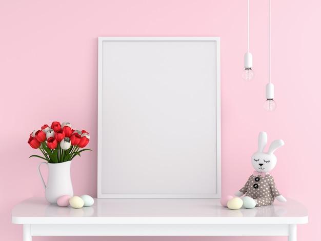 テーブル、イースターの概念のモックアップのための空白のフォトフレーム Premium写真