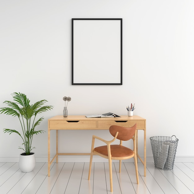 壁のモックアップのための空白のフォトフレーム Premium写真